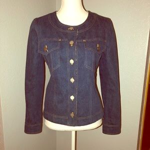 CHANEL Denim Tweed Lined CC Button-Up Jacket